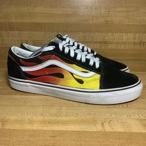 Mens Vans Old Skool Red/Yellow Flames Shoes 10.5
